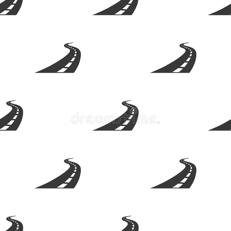 Road icon in black style isolated on white background. Logistic pattern stock vector illustration. vector illustration