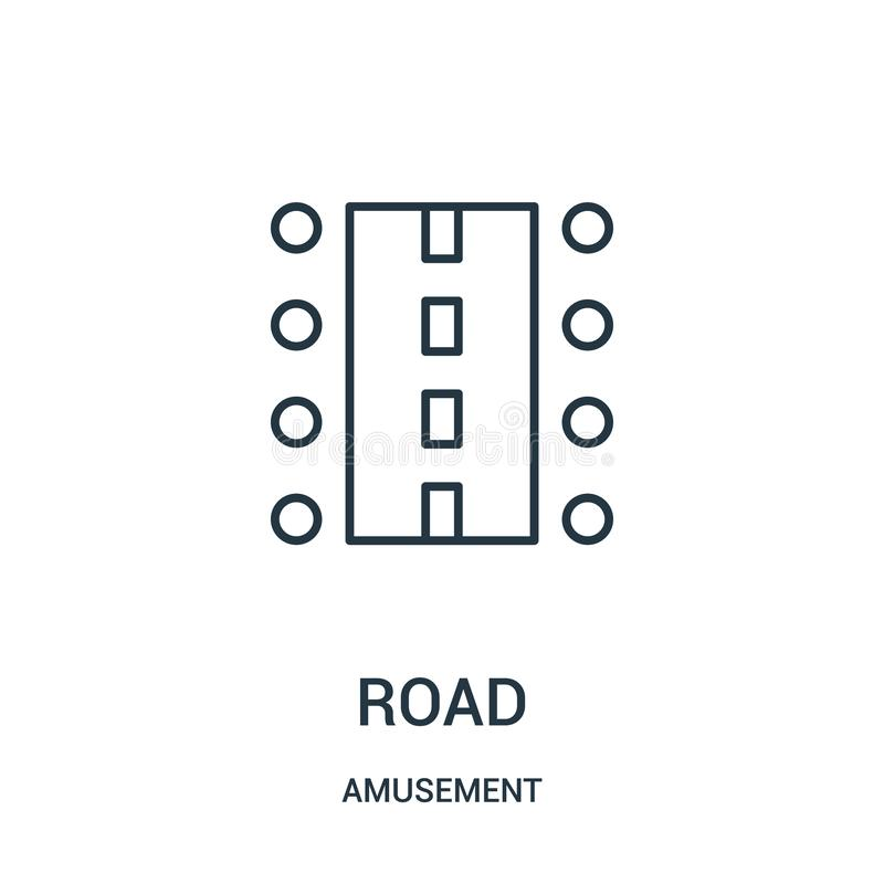 road icon vector from amusement collection. Thin line road outline icon vector illustration stock illustration