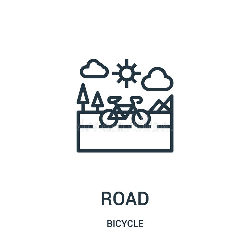 road icon vector from bicycle collection. Thin line road outline icon vector illustration. Linear symbol for use on web and mobile vector illustration