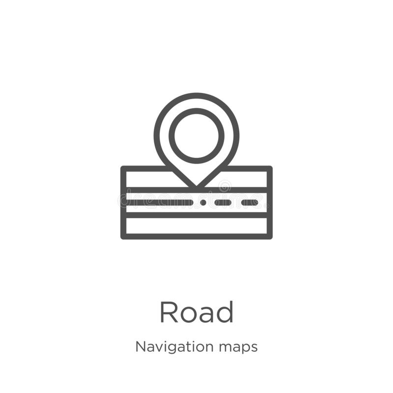 road icon vector from navigation maps collection. Thin line road outline icon vector illustration. Outline, thin line road icon royalty free illustration
