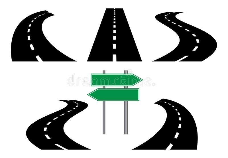 Road icons, isolated on white background, vector illustration. vector illustration