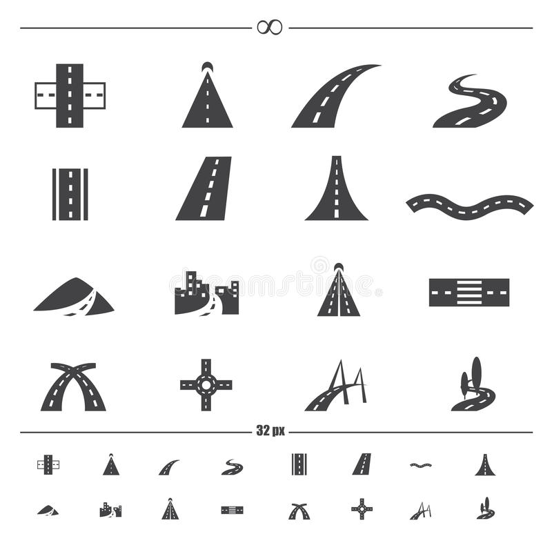 Free Road Icons Vector Royalty Free Stock Photos - 43329018