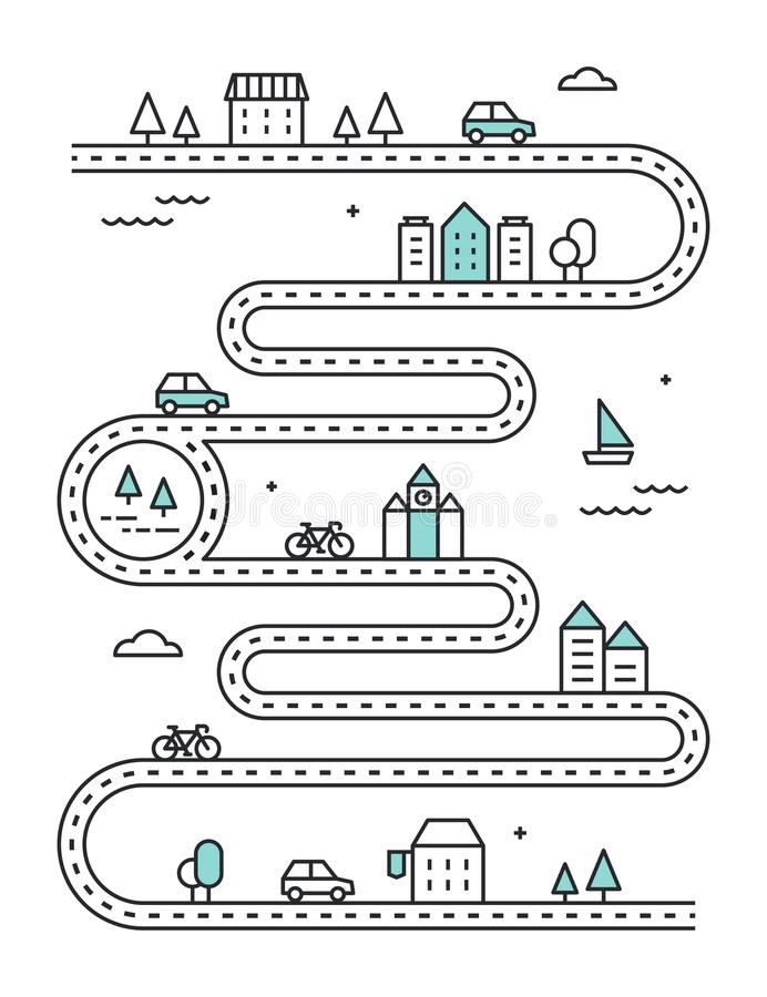 Road Illudtrated Map with Town Buildings and Transport. Vector Infographic Design.  royalty free illustration
