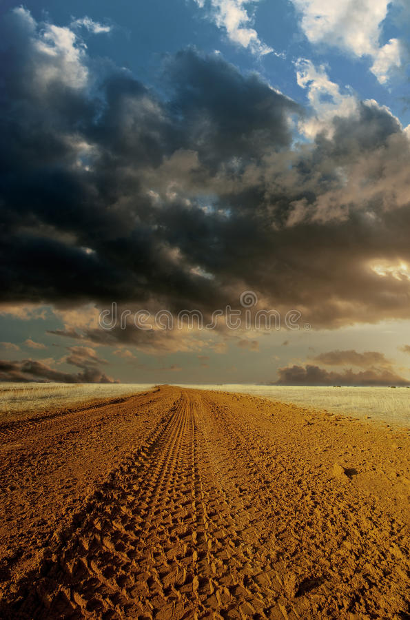 Road in inclement weather. Country road in inclement weather stock photo