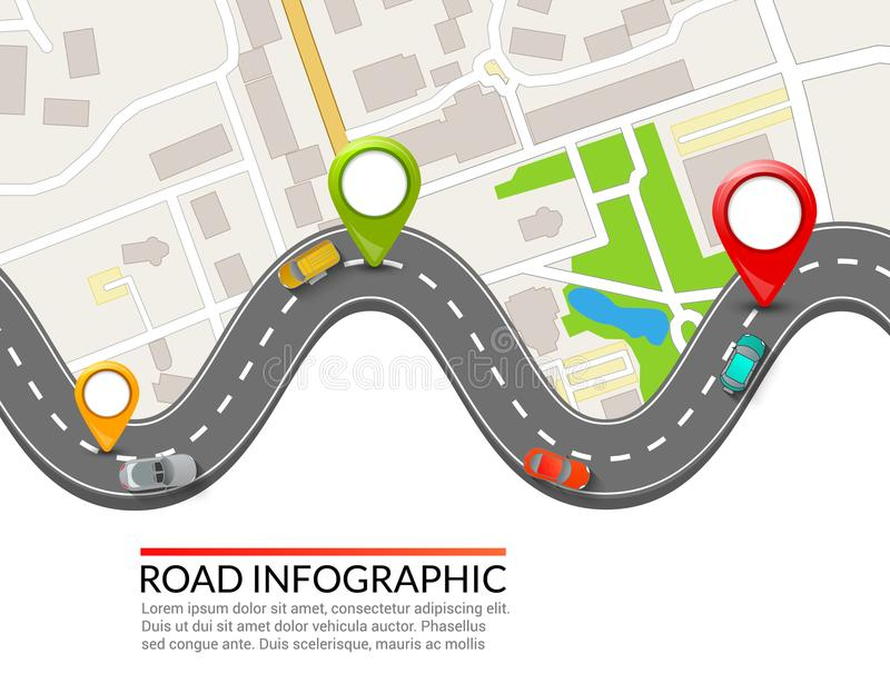 Road infographic. Colorful pin pointer. Road street infographic vector illustration design. Business map template stock illustration