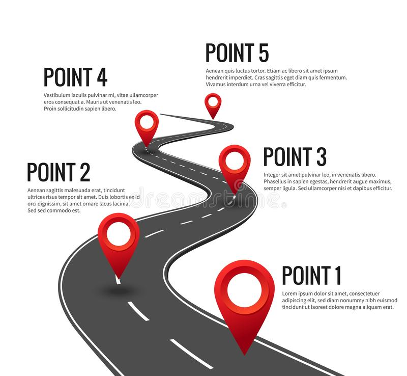 Road infographic. Curved road timeline with red pins checkpoint. Strategy journey highway with milestones concept. Road infographic. Curved road timeline with vector illustration