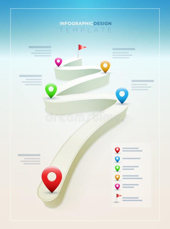 Road Infographic Design Template. Vector Road Infographic Design Template. Elements are layered separately in vector file