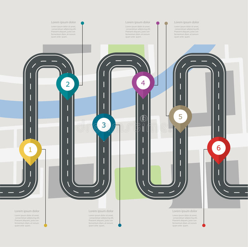 Road infographic stepwise structure with pin pointer. Navigation concept with city map vector illustration
