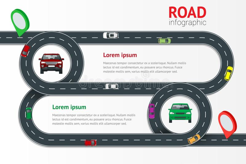 Road infographic template with colorful pin pointer vector illustration. Moving cars on road, top view. Path and travel vector illustration