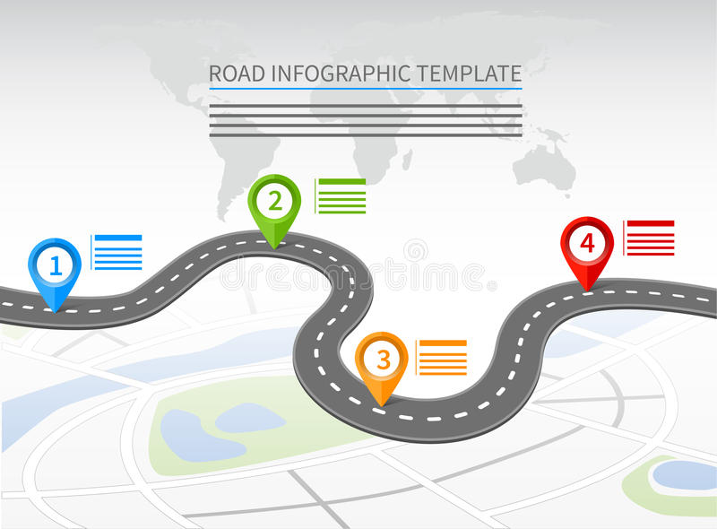 Road infographic template vector illustration