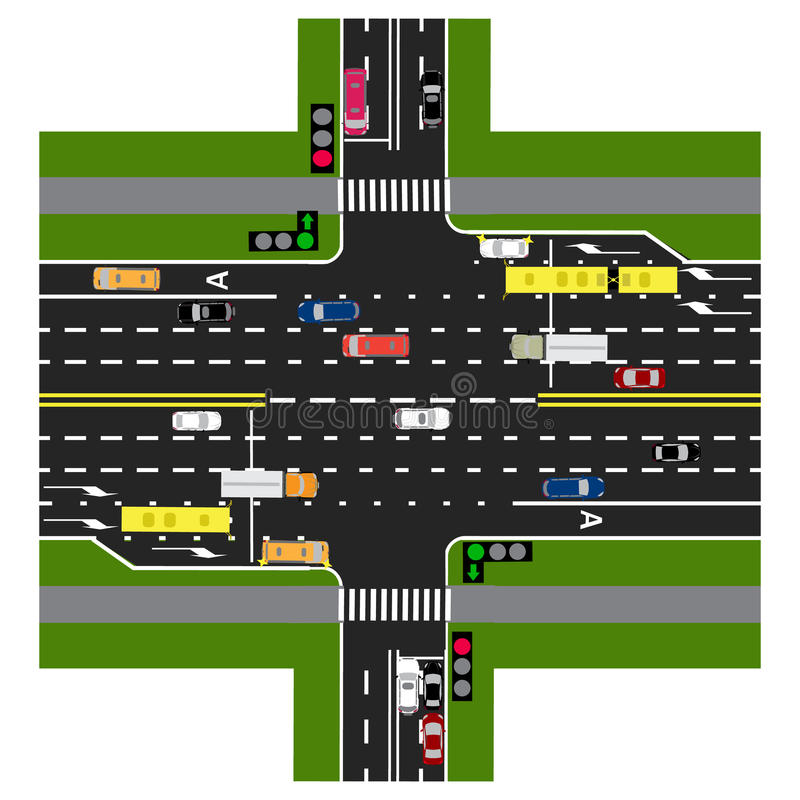 Road infographics. The highway intersects with the road. With the cars and traffic lights. Green signal to the main road. Loaded with road maps and public vector illustration