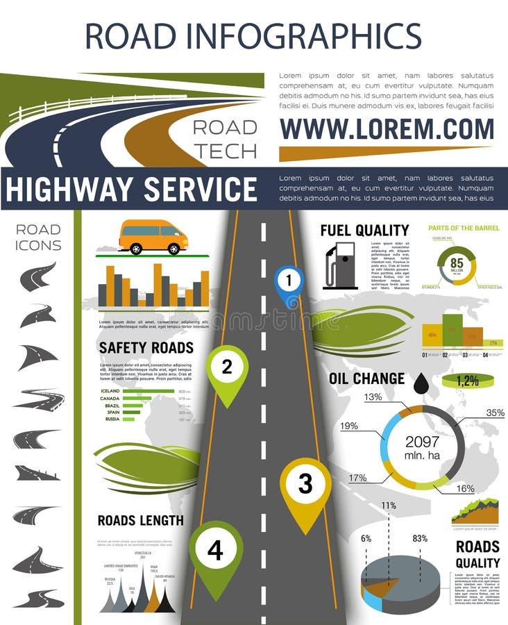 Road infographics for presentation design royalty free illustration