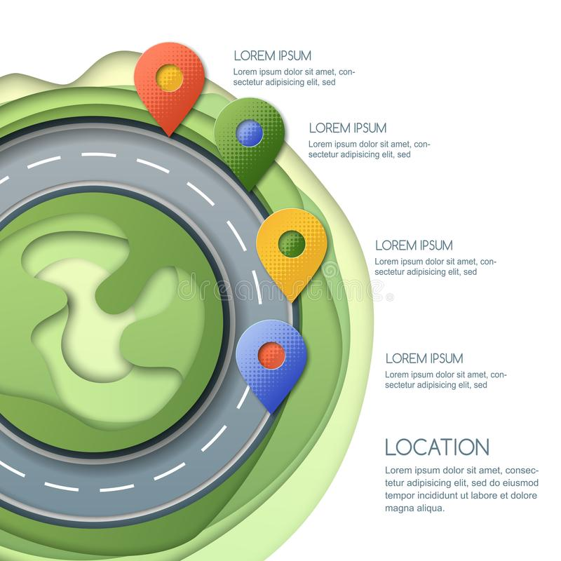 Road infographics, location and GPS navigation. Vector illustration of pin map symbol, waypoint marker on the roundabout. Road infographics template. Way vector illustration