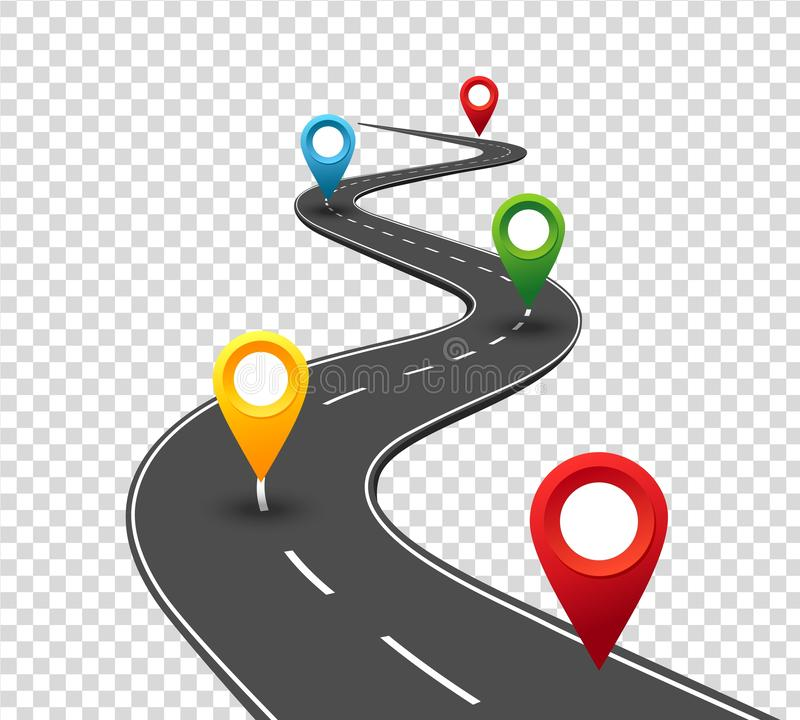 Road infographics. Winding road to success with pin pointers. Business journey way. Progress concept stock illustration