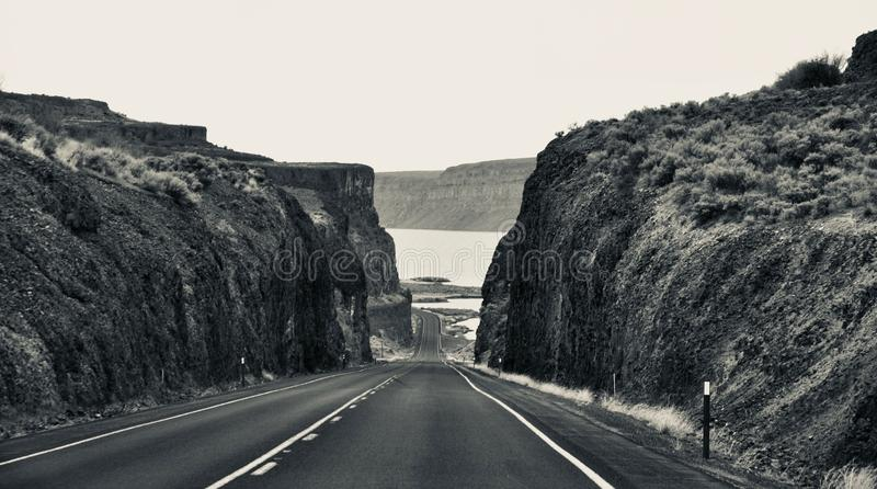 Road, Infrastructure, Black And White, Badlands stock image
