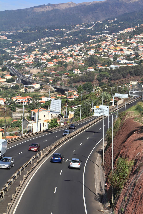 The road of the island of Madeira. The picturesque road along the coast of the island of Madeira royalty free stock photos