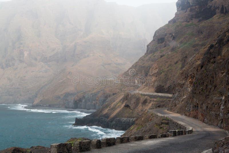 Road of the island of Sao Nicolau, Cape Verde.  stock photo