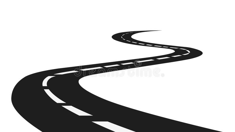 Road.Isolated road on white background vector stock. Curved road vector on white background.Vector stock road stock illustration