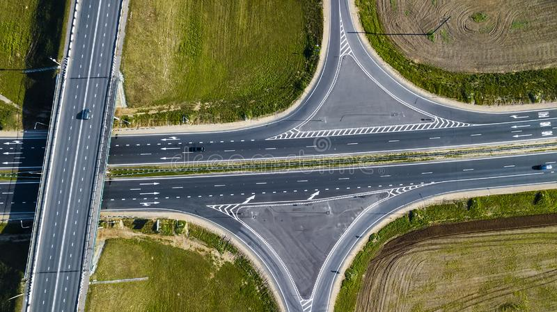 Road junction aerial view from above drone royalty free stock photography