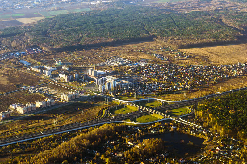 Road junction on highway, aerial view, Russia royalty free stock photography