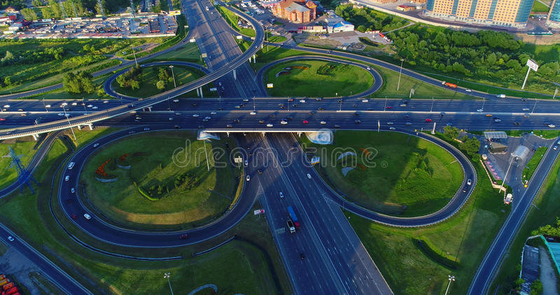 Road junction of the highway Enthusiasts and the Moscow Ring Road. stock image