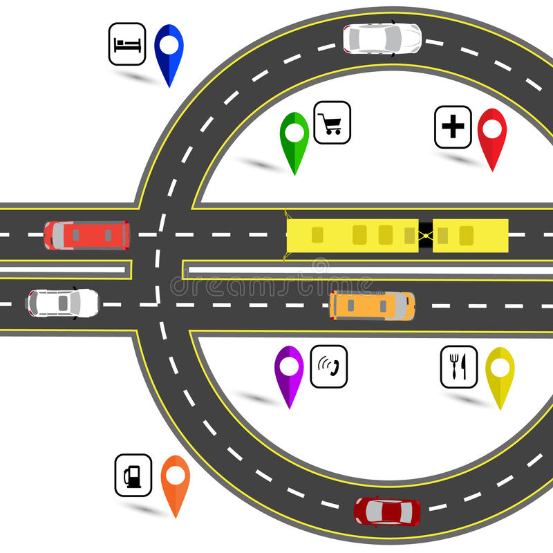 Road junction resembling a euro sign. The path for the navigator. Humorous image. illustration. Road junction resembling a euro sign. The path for the navigator stock illustration