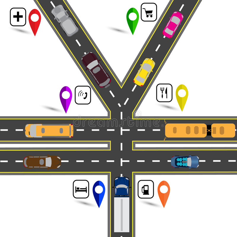 Road junction, a sign resembling the yen, the yuan. Way to the navigator. Humorous image. illustration. Road junction, a sign resembling the yen, the yuan. Way vector illustration