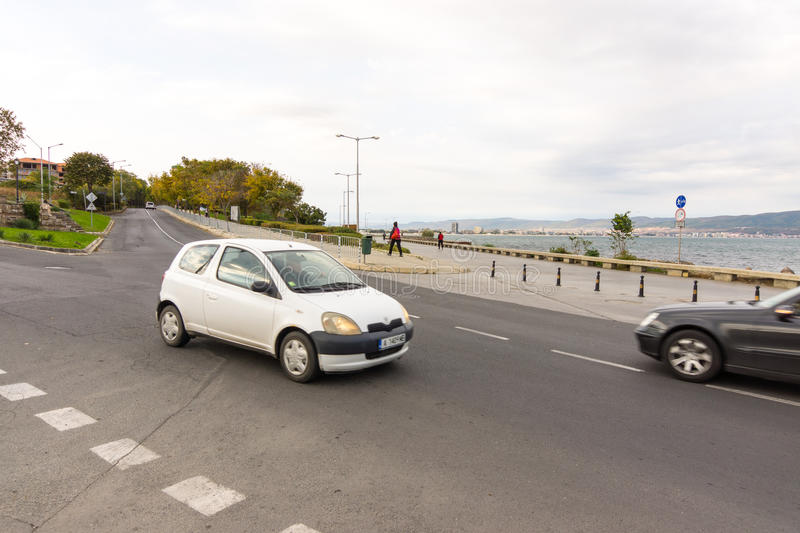 Road junction on the waterfront of Nessebar in Bulgaria royalty free stock photography