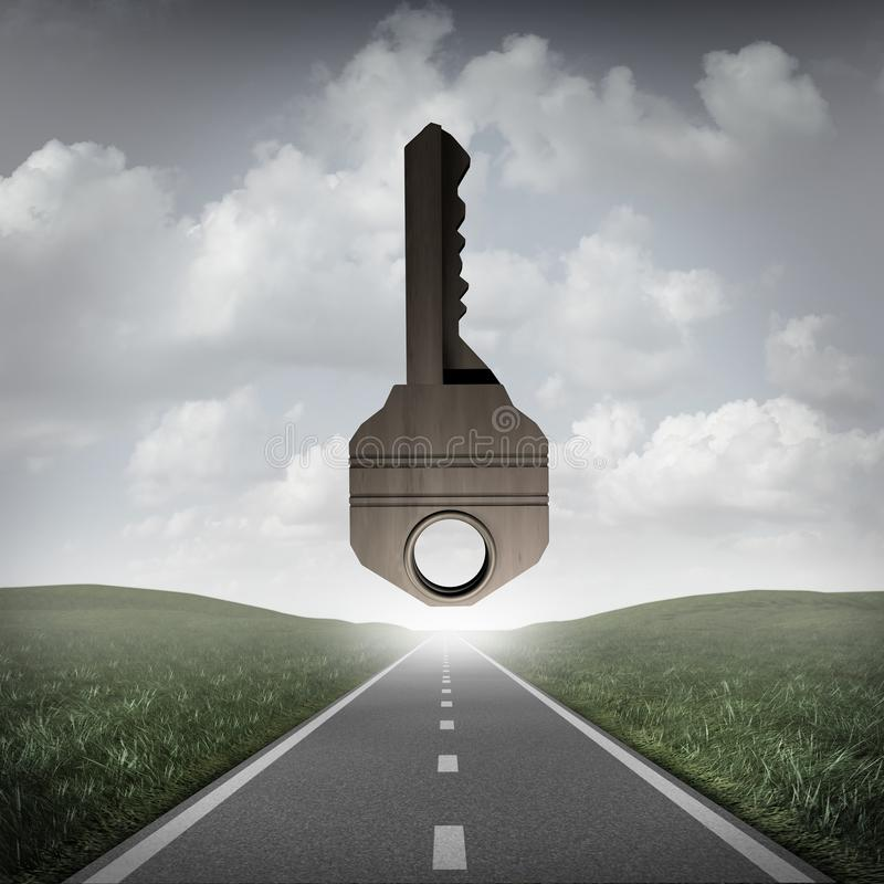 Road Key To Success. Concept as a path to succeed with a solution goal ahead as a surreal business or life metaphor for answers as a 3D illustration stock illustration
