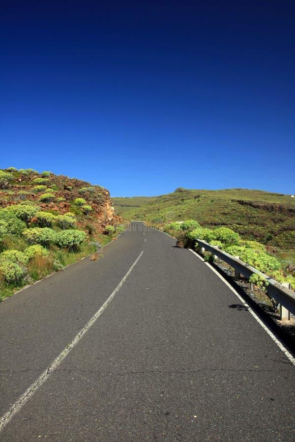 Road in the La Gomera. An amazing landscape with a road in the La Gomera, Canary islands, Spain stock photos