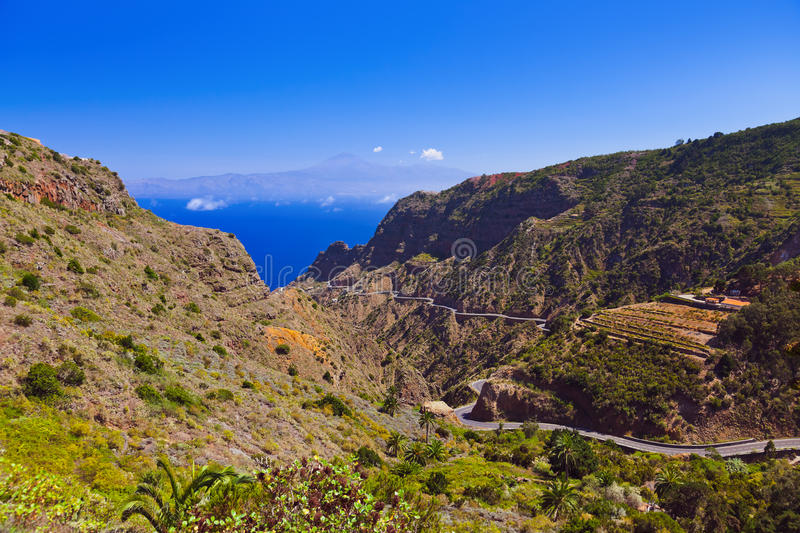 Road in La Gomera island - Canary. Spain royalty free stock images