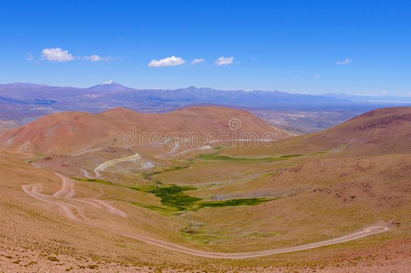 Road and landscape at Paso Abra Del Acay, Salta, Argentina stock images