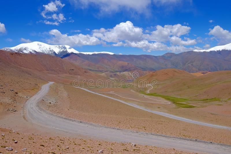 Road and landscape at Paso Abra Del Acay, Salta, Argentina. South America royalty free stock images