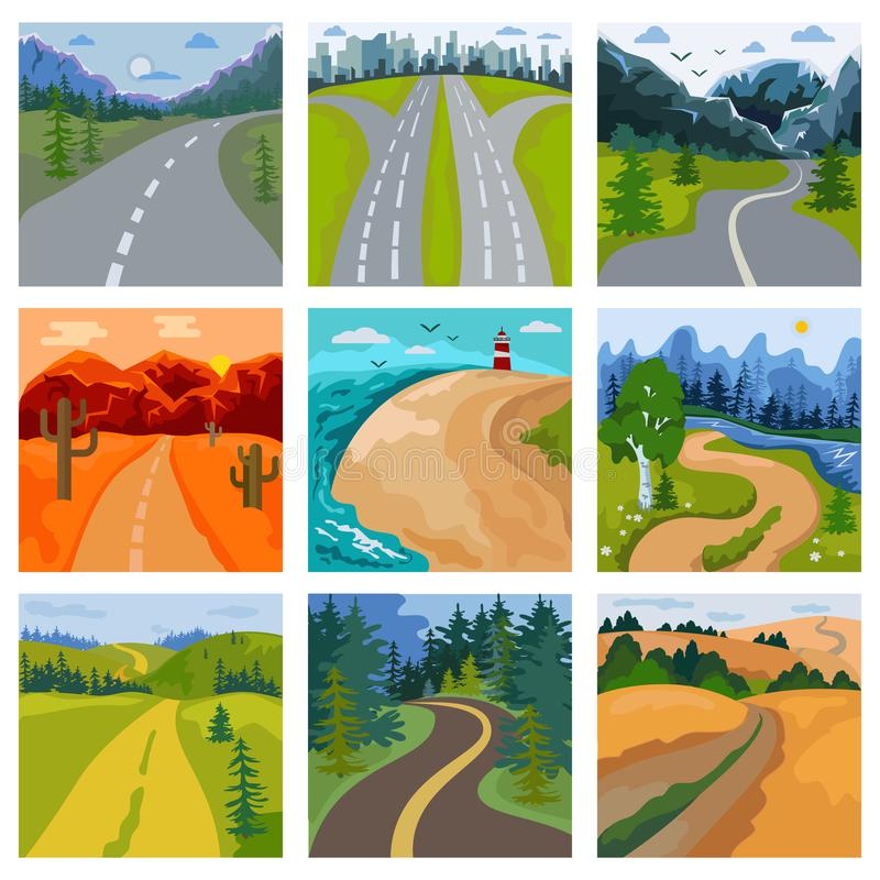 Road landscape vector roadway in forest and cityscape highway or roadside way to field lands with grass and trees in. Countryside illustration set of traveling stock illustration