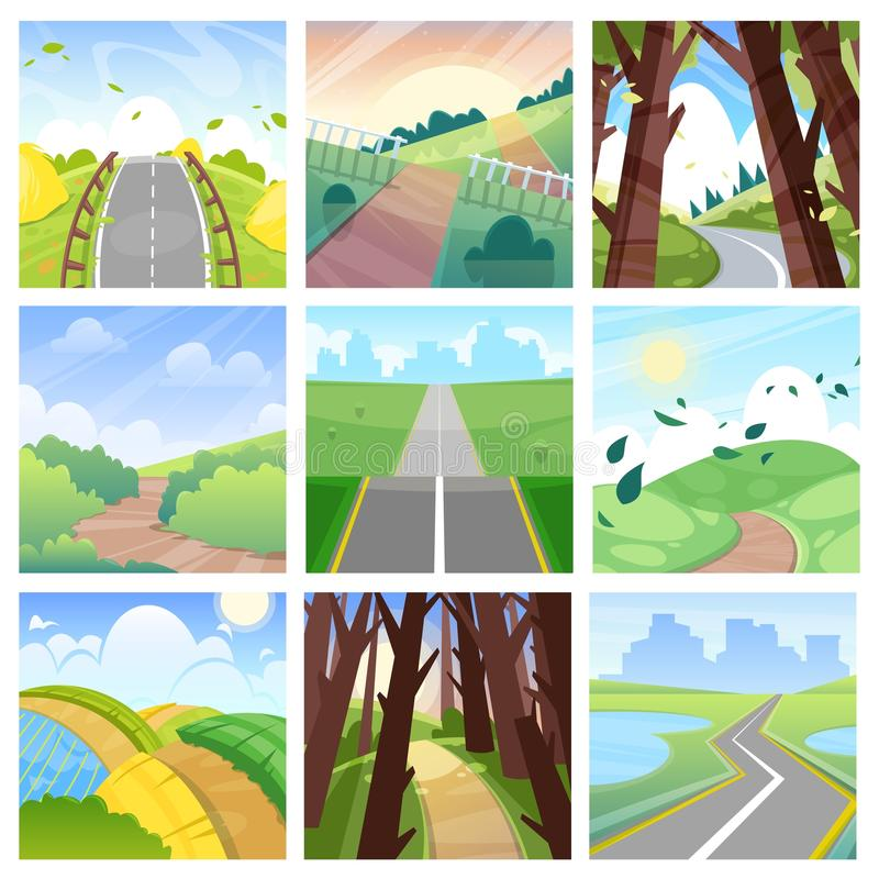 Road landscape vector roadway in forest or way to field lands with grass and trees in countryside illustration journey. Set of highway or roadside traveling in royalty free illustration