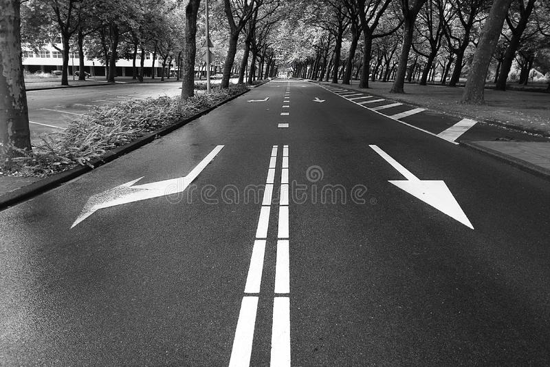 Road, Lane, Asphalt, Black And White royalty free stock photos