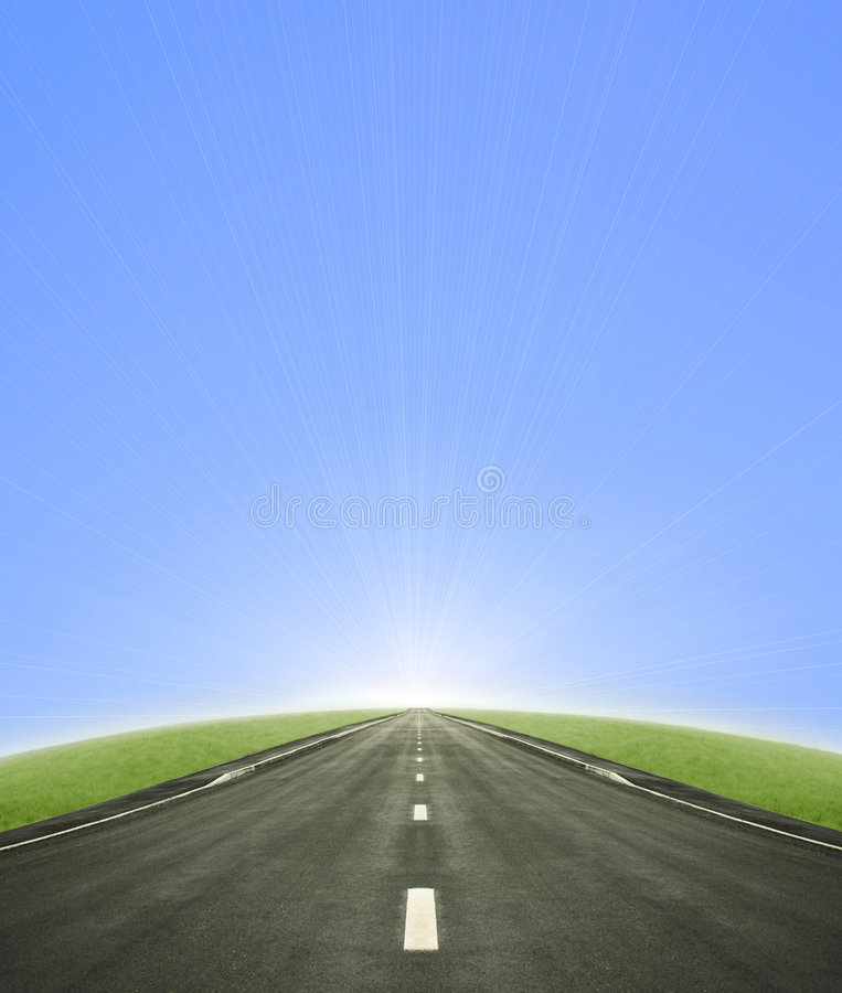 Road Leading Into The Sun Royalty Free Stock Images