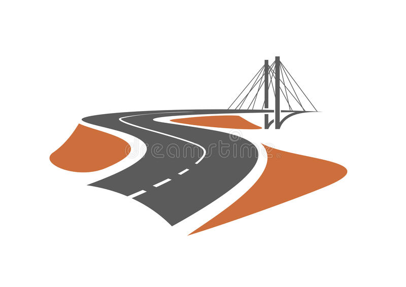 Road leading to the cable-stayed bridge. For transportation or emblem design stock illustration