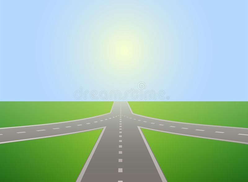 Road leading to horizon and sunlit sky. vector illustration