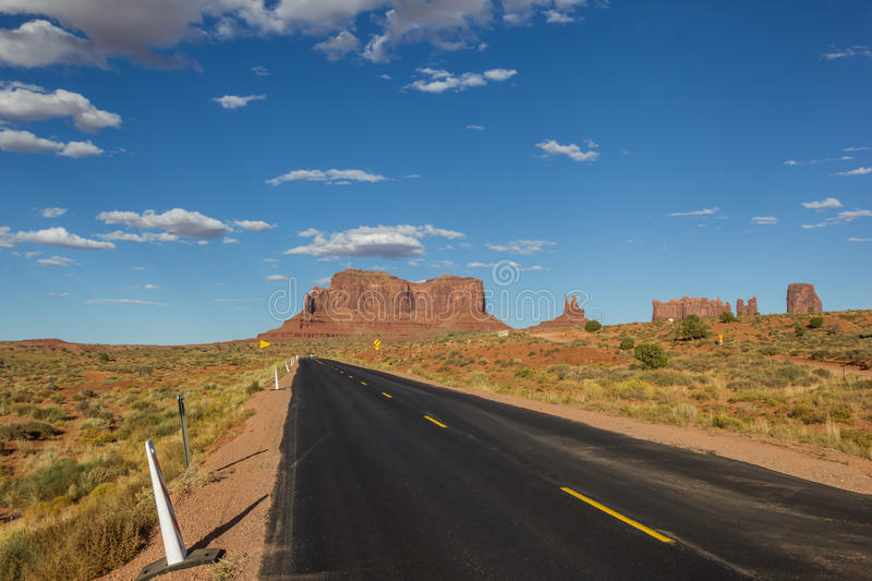 Road leading to Monument Valley in Arizona royalty free stock photography