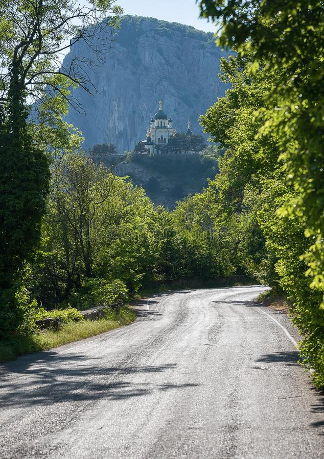 The road leading to the mountain monastery. The road leading to the mountain Church of the Resurrection in foros in Crimea stock image