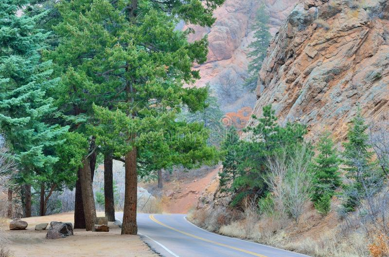 North Cheyenne Canyon. A road leading up to the top of North Cheyenne canyon in Colorado Springs Colorado stock images
