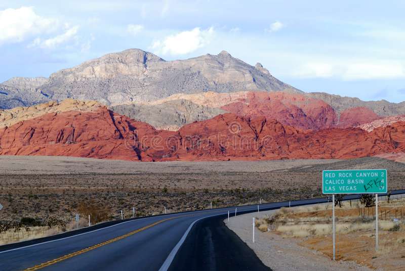 Road leads to Las Vegas stock photography