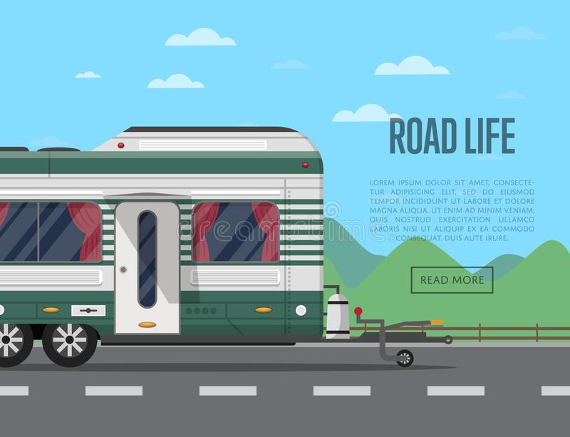 Road life poster with camping trailer royalty free illustration