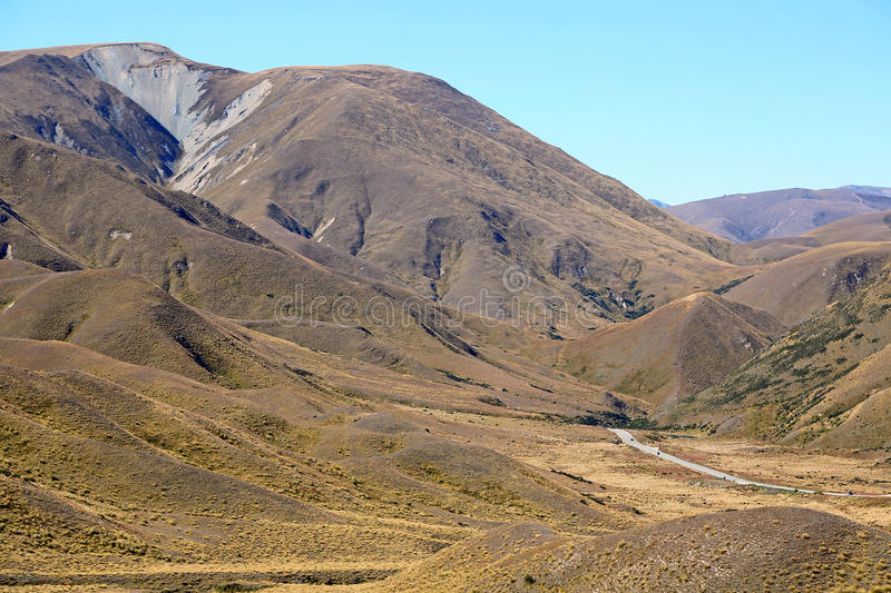 Road in Lindis Pass. New Zealand stock photos