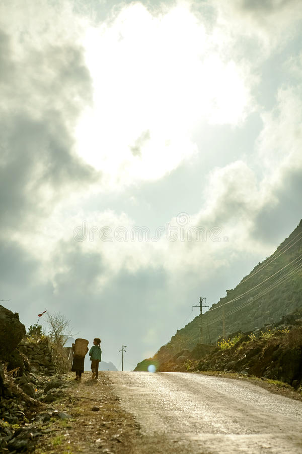 Road at Lung Cu. In Van stone. Van Stone Plateau (natural or painted Van) is a rocky plateau spread over four districts of Quan Ba, Yen Minh, Van, Meo Vac, Ha stock images