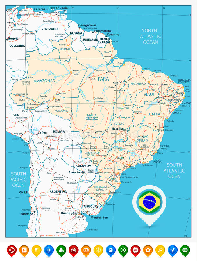 Road Map Of Brazil And Colored Map Pointers Stock Vector