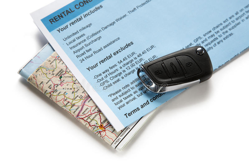 Road map and car key stock photography