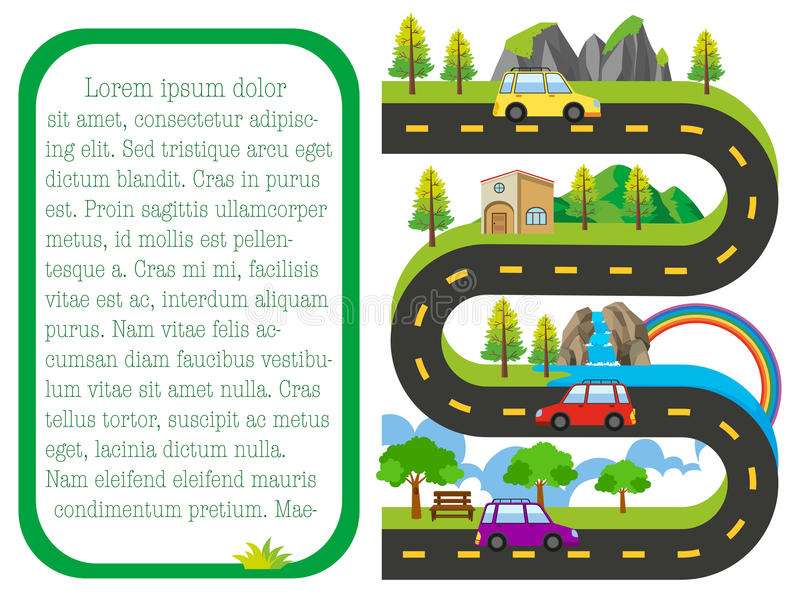 Road map with cars on the road royalty free illustration