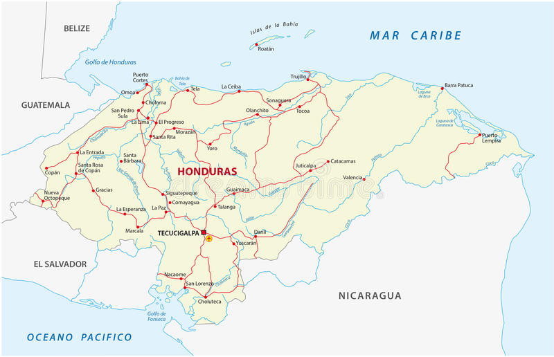 Road Map Of The Central American State Of Honduras Stock ...